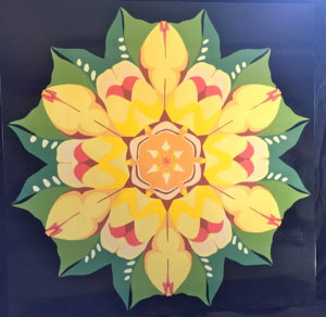 "Quilt 46 ""Kaleidoscope Yellow Rose"""